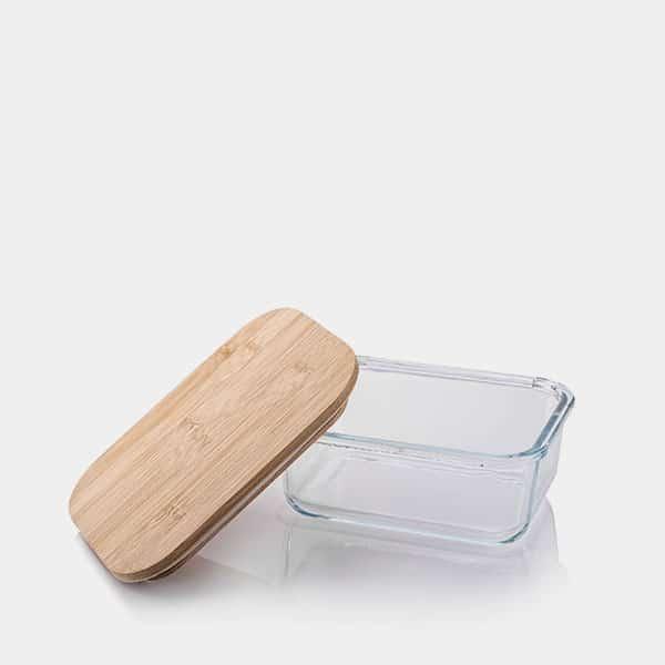 Frischhaltedose aus Borosilikatglas mit Bambusdeckel