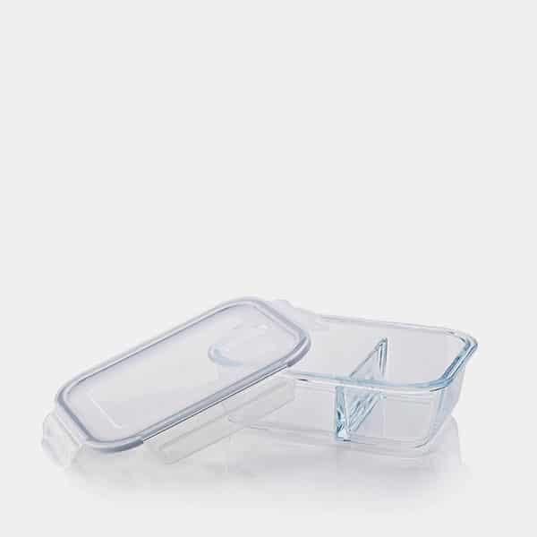 Frischhaltedose aus Borosilikatglas mit integrierter Trennwand